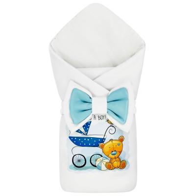 "Конверт-одеяло принт ""Teddy & Bird"" It's a Boy Бязь Деми"
