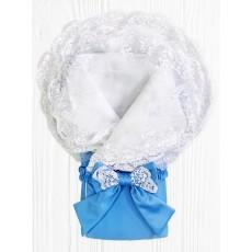 """Конверт-одеяло """"Janet"""" Голубое с Белым Кружевом  Флис Деми"""